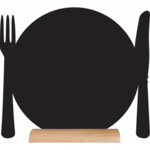 Tafel krijtbord Silhouette bord - bestek