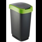 Afvalbak 50L zwart/groen Twist