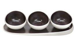 Aperoset 4-delig met bordje en 3 aperoschaaltjes Aubergina