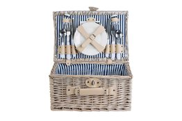 Picknick mand gevuld 4 personen gestreept blauw