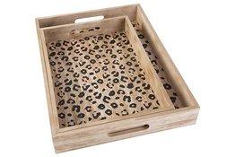 Dienblad leopard set van 2