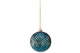 Kerstbal diamond blauw 8cm