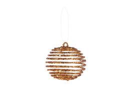 Kerstbal koper spiraal 7cm