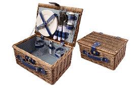 Picknickmand 2 personen bruin/blauw 33cm