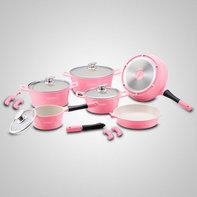 Roze 14 delige keramische pannenset