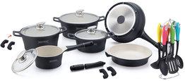 Keramische pannenset 21-delig zwart met keukenset