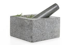 Vijzel met stamper graniet 14 cm vierkant Cosy&Trendy