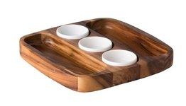 Bord hout Acacia met 3 dipschaaltjes 30 x 30 cm