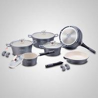Keramische pannenset 14-delig zilver grijs