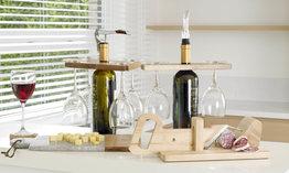 Houten 4-glazenhouder voor op wijnfles