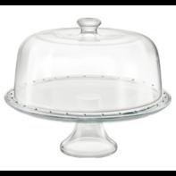 Taartschotel 31 cm op voet met deksel glas