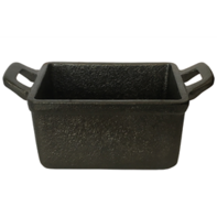 Mini kookpot rechthoekig 11x8 cm gietijzer