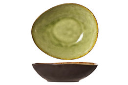 Bord diep ovaal groen 19,5 cm Mossa