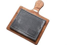Steengrill met houten basis 16x20cm