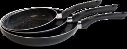 Koekenpannen set 3-delig marmer zwart
