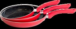 Koekenpannen set 3-delig marmer rood