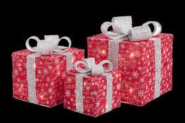 Kerstcadeau boxen LED set van 3