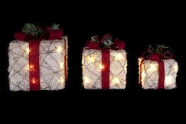 Kerstcadeau boxen LED set van 3 Snowy