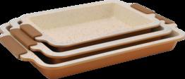 Keramische ovenschalen set van 3 koper
