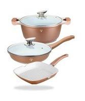 Keramische pannenset 5-delig combinatie grill-, braad- en hapjespan
