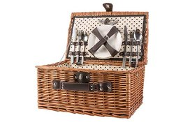 Picknick mand gevuld Dots Wilg 4 personen