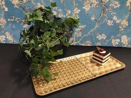 Dienblad 35 x 16 cm Pauw goud