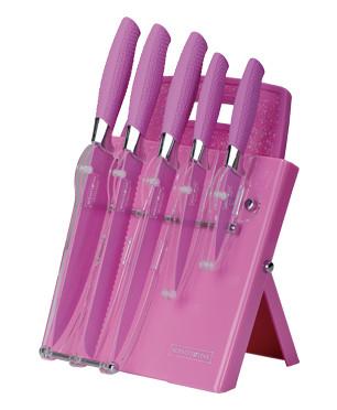 Messenset roze RVS op standaard met snijplank