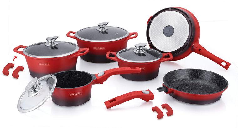 Dagaanbieding - Pannenset marmeren coating 14-delig rood zwart dagelijkse koopjes