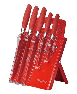 Dagaanbieding - Messenset rood RVS op standaard met snijplank dagelijkse koopjes