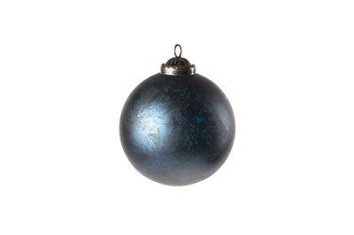 Kerstbal antiek blauw 10cm