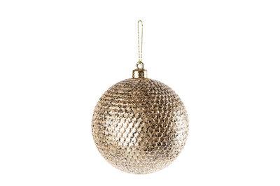 Kerstbal champagne kunststof 10cm