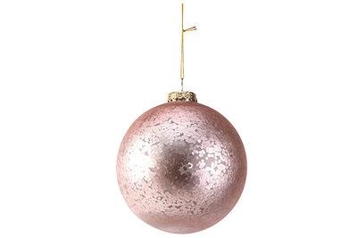 Kerstbal confetti roze 15cm