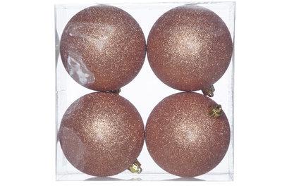 Kerstballen 4 st koper 10cm
