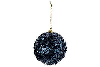 Kerstbal blauw glitters 10cm kunststof