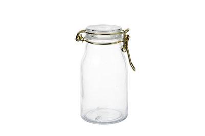 Glazen potje mini 6x11 cm met deksel rond goud