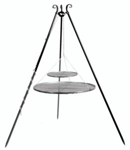 Driepoot 180 cm met dubbel stalen grillrooster