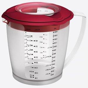 Maatbeker met deksel rood 1,4 Liter