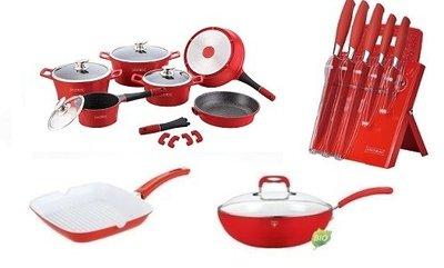pannenset messenset grillpan en wokpan rood
