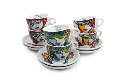 Koffiekopjes met schotels set 6 Josien Broeren