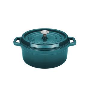 Braadpan 20 cm gietijzer blauw groen Sola