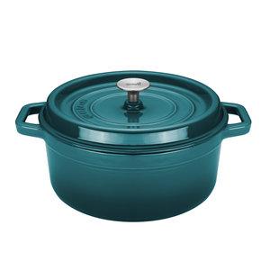 Braadpan 28 cm gietijzer blauw groen Sola