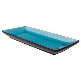 Bord rechthoekig 30x14 cm turquoise zwart Asia Palmer