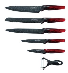Messenset marmeren coating 6-delig rood zwart