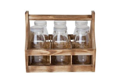Houten houder met 6 flesjes