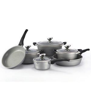 Pannenset marmeren coating 10-delig zilver grijs Limited