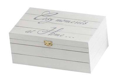 Witte Houten Box.Houten Deco Kistje Wit 18 5 Cm