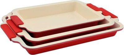 Keramische ovenschalen set van 3 rood