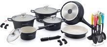 pannenset 21 delig keramisch zwart met keukenset