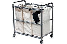 Wasmand - Wasgoedsorteerder met 3 vakken op wielen
