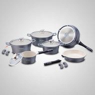 Keramische pannenset 10 delig zilver grijs